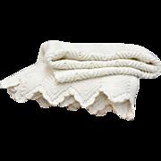 Large Ivory White Crochet Scalloped Trim Blanket or Coverlet