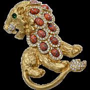 Massive Kenneth Jay Lane KJL Roaring Lion Rhinestone & Crackled Cabochon Brooch/Pin