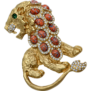 Massive Kenneth Jay Lane KJL Roaring Lion Rhinestone & Crackled Cabochon Brooch/Pin