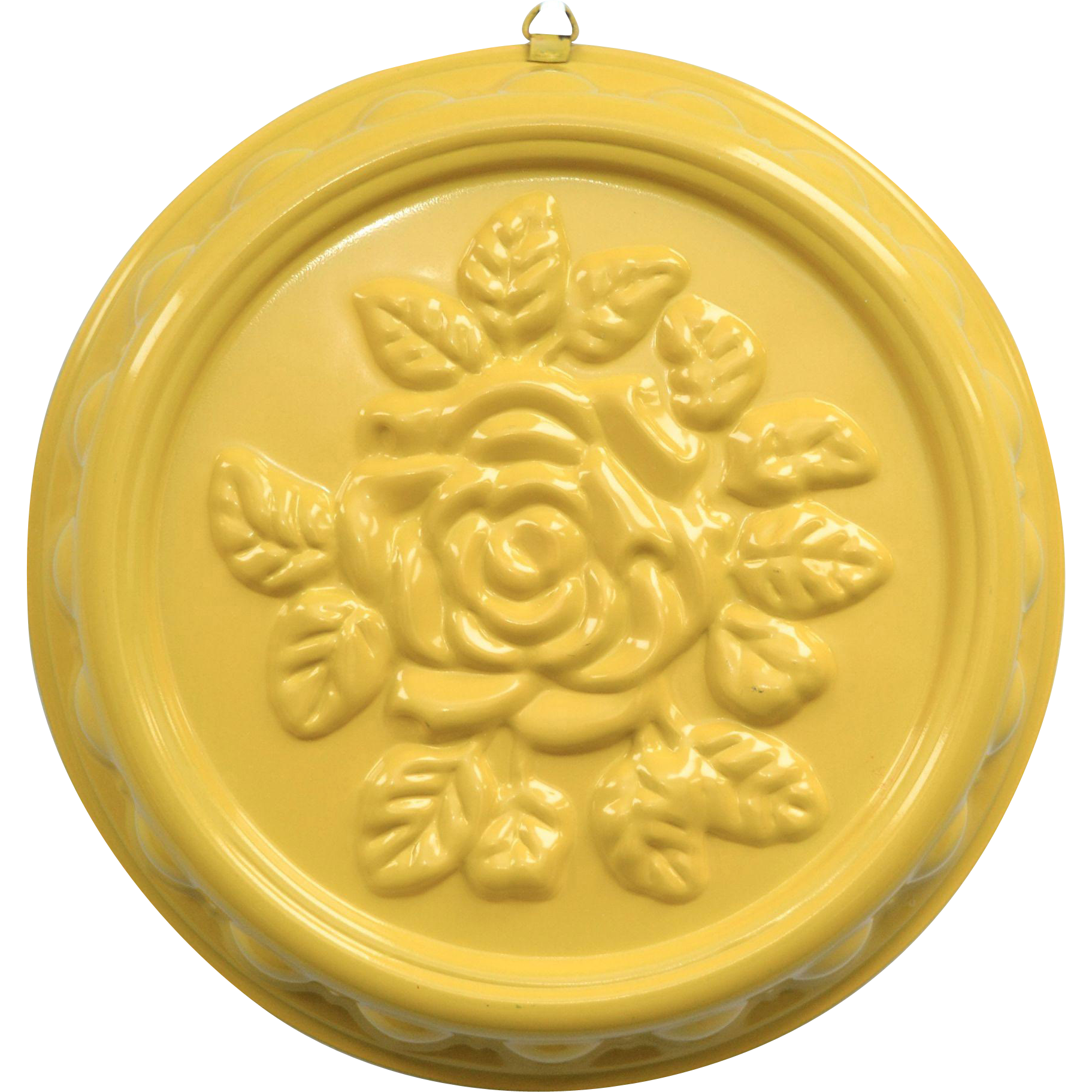 Large Yellow Enamel Rose Flower Embossed Cake Pan for Decoration or Use
