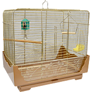 Pacific Cage and Furniture Metal Bird Cage w/ 3 Feeders, Swing, 2 Perches, Pagoda Mirror Bell Toy & 2 Bird Seed Guards