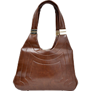 Chocolate Brown Vinyl Handbag w/ Goldtone Hardware Accents