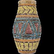 Mid-Century Modern Fat Lava Textured Clay Art Pottery Vase