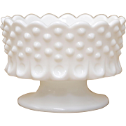 Fenton White Hobnail Milk Glass Scalloped Candle Holder