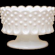 Fenton White Hobnail Milk Glass Scalloped Candle Holder