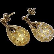 Sterling Silver Vermeil Gold Confetti Lucite Teardrop Dangle Pierced Earrings