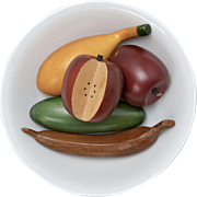 Set of 5 Painted Wood Fruit Display - Apples, Banana, Cucumber & Yellow Gourd