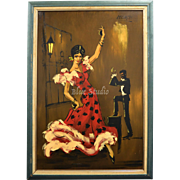 "Signed Monte Huge 40"" Flamenco Dancer Oil on Board Painting in Original Wood Frame"