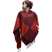 Circa 1970s Lipstick Red & Wine Colorblock Poncho with Fringe