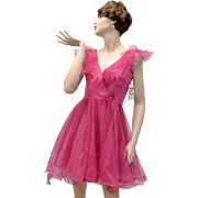 Faviana New York Frilly Pink Organza Cocktail Dress