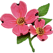 Bright Pink Enamel Dogwood Flower Brooch