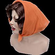Vera Neumann Circa 1960s Bright Orange Sheer Chiffon Square Head or Neck Scarf