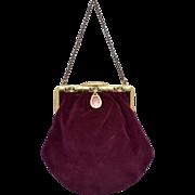 Art Deco Pink Guilloche Enamel Plum Purple Velvet Handbag Purse