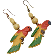 Colorful Hand Painted & Carved Wood Parrot Bird Dangle Earrings