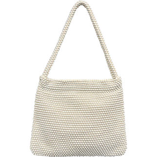 Charming White Egg Bead Handbag Purse