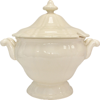 Western Germany Ivory Colored Ironstone Ceramic Soup Tureen w/ Original Lid