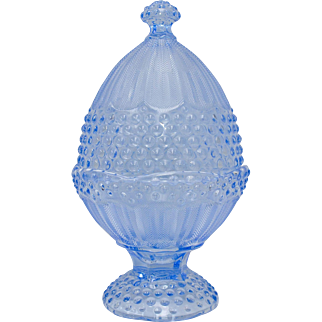 Gorham Crystal Emily's Attic Blue Hobnail Glass Egg Shaped Candy Dish