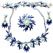 Vintage Juliana (D&E) Book Piece Blue & Aqua Rhinestone Grand Parure