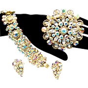 Vintage Juliana (D and E) AB Rhinestone Bracelet, Brooch and Earrings Parure