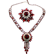 Vintage Juliana (D and E) Red Rivoli Rhinestone Necklace and Brooch Demi Parure