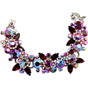 Vintage Juliana Red AB Navette Rhinestone Bracelet