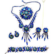 Vintage Juliana (D and E) Book Piece Bermuda Blue Margarita Rhinestone Necklace, Bracelet, Brooch, Dangle Earrings and Button Earrings Grand Parure