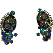 Vintage Juliana (D and E) Book Piece Blue Oval Engraved Painted Flower Cabochon Rhinestone Earrings