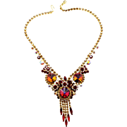 Vintage Juliana Book Piece (D and E) Red Volcano Rivoli Rhinestone Necklace