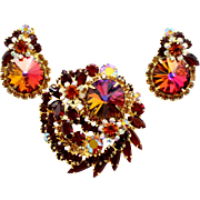 Vintage Juliana (D and E) Book Piece Volcano Rivoli, Red and Topaz Rhinestone Demi Parure