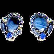 Vintage Juliana (D&E) Book Piece Blue Striped Givre Rhinestone Earrings