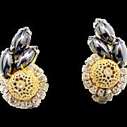 Vintage Juliana (D&E) Book Piece Hematite Rhinestone & Filigree Ball Earrings