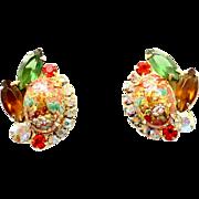 Vintage Juliana (D and E) Book Piece Orange Easter Egg Cabochon and Rhinestone Earrings