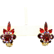 Vintage Juliana (D and E) Red and AB Rhinestone Earrings