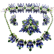 Vintage Juliana (D and E) Book Piece Blue Hexagon, Peridot and Green Rhinestone Necklace, Bracelet Brooch and Earrings Grand Parure
