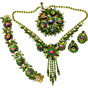 Vintage Juliana Book Piece Green Watermelon Margarita Rhinestone Necklace, Bracelet, Brooch, Earrings Grand Parure
