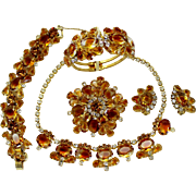 Vintage Juliana Book Piece Topaz Givre Rhinestone Necklace Bracelet Clamper Brooch Earrings Grand Parure