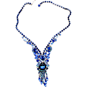 Vintage Juliana Book Piece Watermelon Bermuda Blue Caged Dentelle Rhinestone Necklace