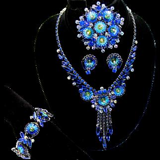 Vintage Juliana Book Piece Bermuda Blue Margarita Rhinestone Necklace, Bracelet, Brooch, Dangle Earrings and Button Earrings Grand Parure
