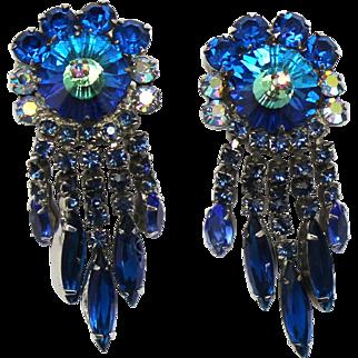 Vintage Juliana Bermuda Blue Margarita Rhinestone Dangle Earrings