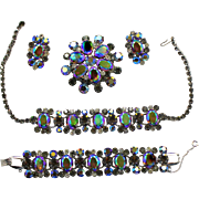 Vintage Juliana Black Diamond Gray Headlight AB Rhinestone Necklace Bracelet Brooch Earrings Grand Parure