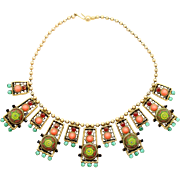 Vintage Juliana Book Piece Coral and Jade Rhinestone Moroccan Matrix Necklace