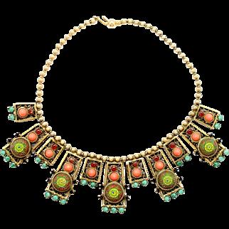 Vintage Juliana Book Piece Coral and Jade Rhinestone Moroccan Matrix Necklace