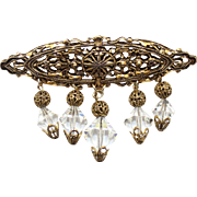 Vintage Filigree & Dangling Crystal Bead Bar Brooch