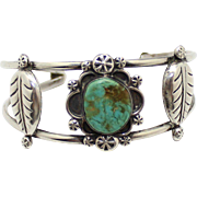 Vintage Sterling Silver Mexico Turquoise Cuff Bracelet