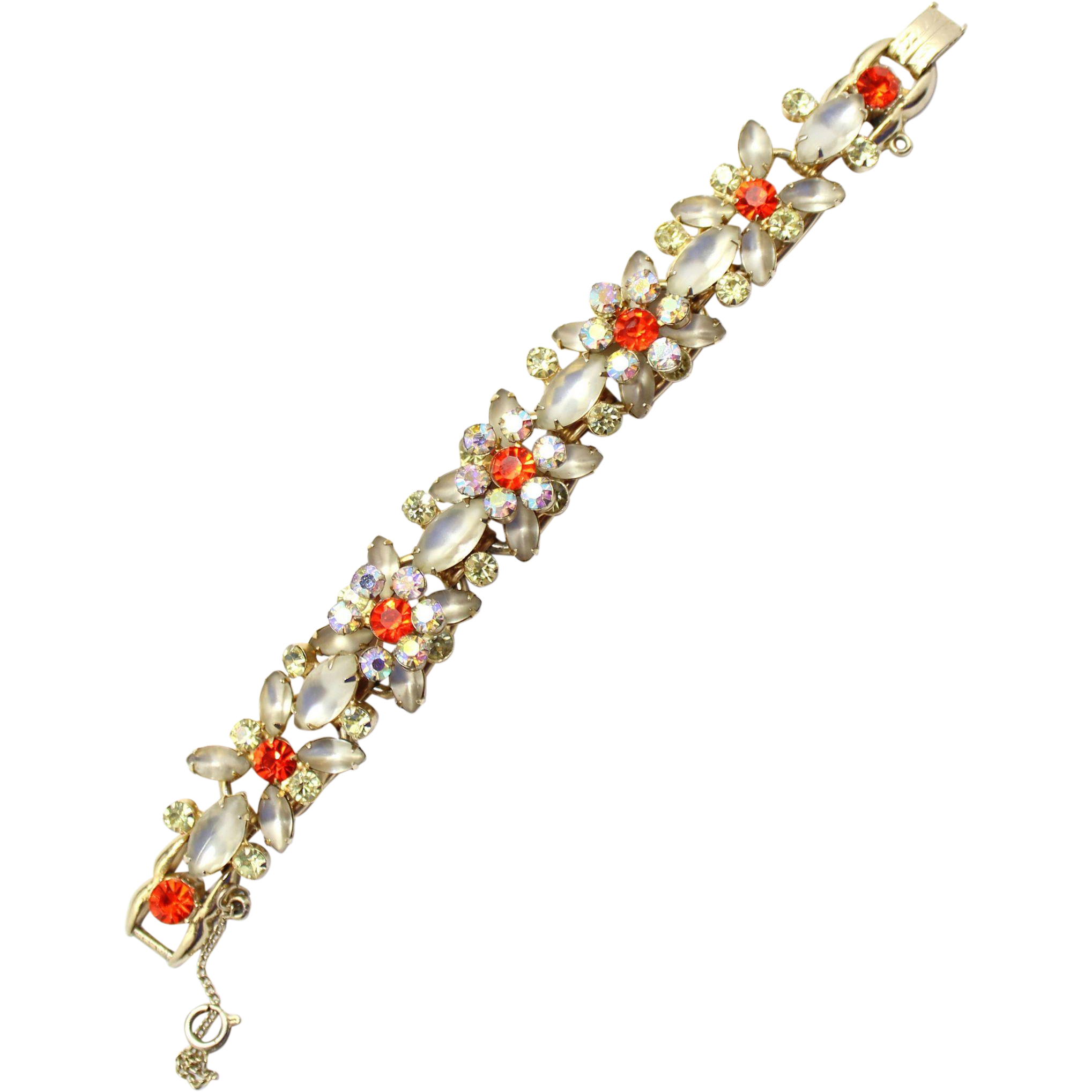 Vintage Juliana (D&E) Book Piece Frosted White & Orange Rhinestone Bracelet