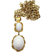 Vintage Juliana (D&E) Book Piece Venus Flames White Cabochon Pendant Necklace