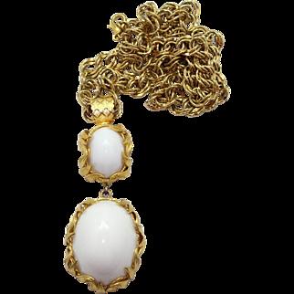 Vintage Juliana (D&E) Book Piece Venus Flames White Cabochon Pendant Necklace