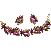 Vintage Juliana Book Piece Purple Amethyst Watermelon Rhinestone  Earrings and Bracelet Demi Parure