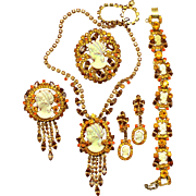 Vintage Juliana Book Piece Topaz Iridescent silhouette Cameo Rhinestone Necklace, Brooch, Bracelet Earrings Grand Parure