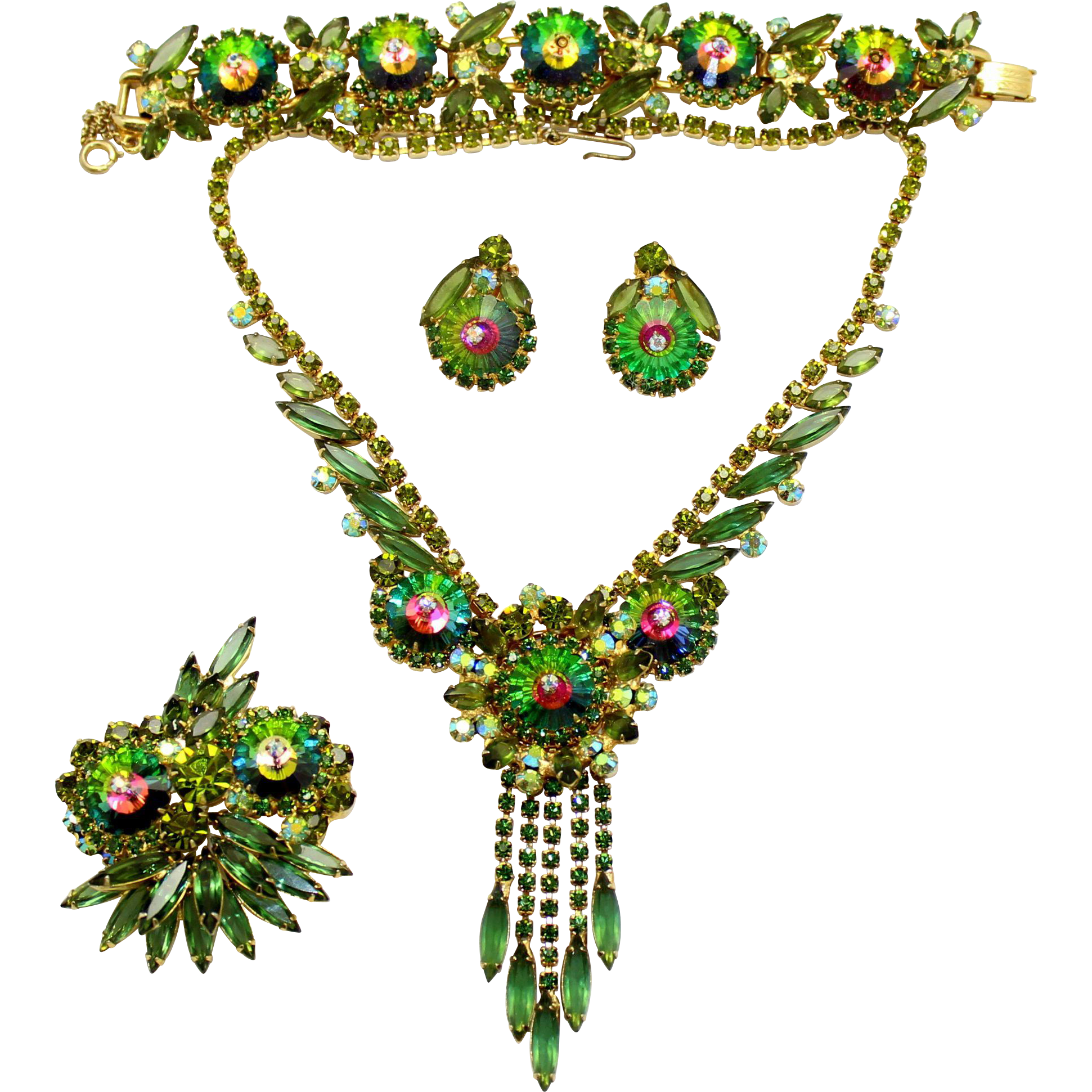 Vintage Juliana Book Piece Olivine Watermelon Margarita Rhinestone Necklace, Bracelet, Brooch, Earrings Grand Parure